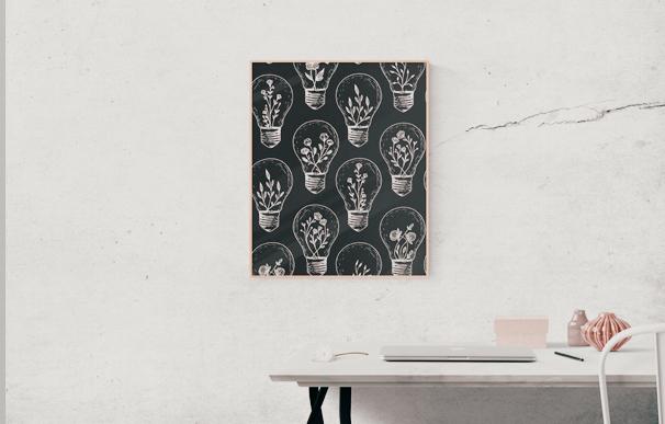 Mockup de quadro estampado com rapport criado por aluna do curso de Design de Estampa da Escola Casa Blumenau.